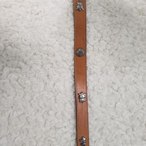 undetermined Accessories - Leather Belt w/Silver Buckle & native animal studs